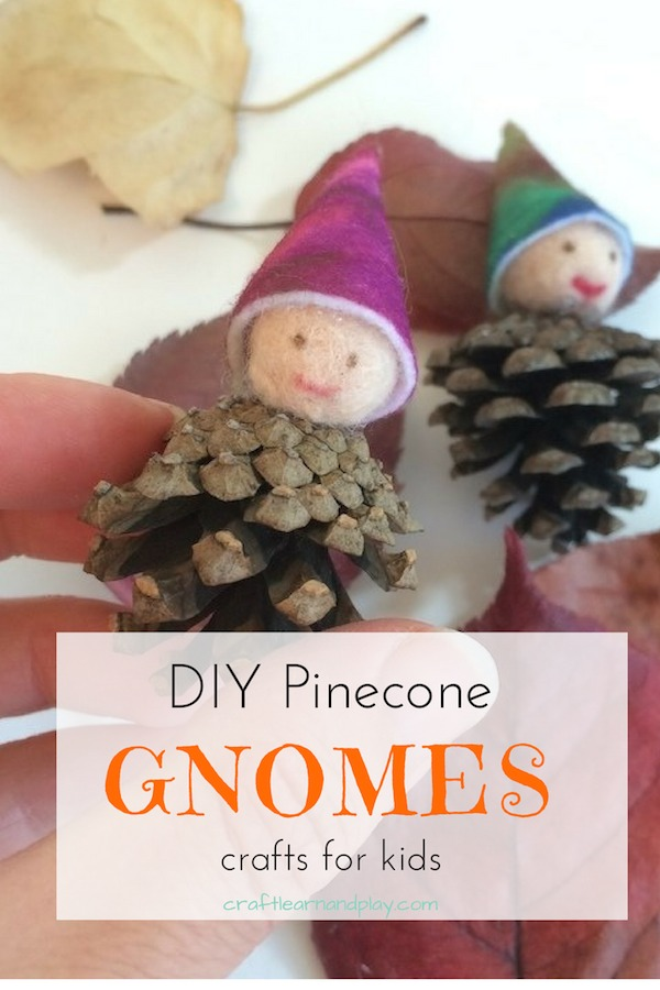 DIY pine cone crafts for kids. One of our favourite fall kids activities that we make for other seasons. Like Christmas gnome decorations. If you wanna bring some nature in to your home than this pinecone gnomes are prefect nature craft for your kids. Click for tutorial. #DIY #gnomes #naturecrafts #kidscrafts #feltgnome #pinecone