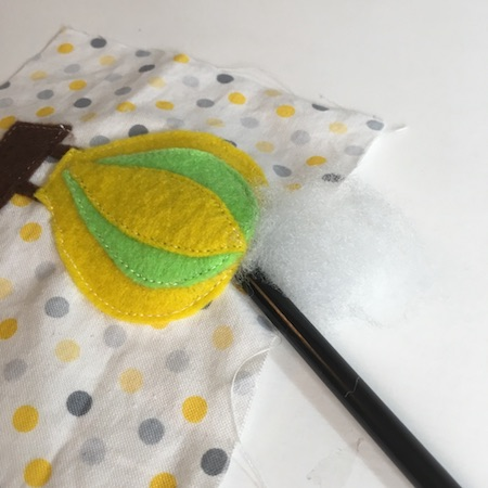 Fill appliques with poly pillow stuffing for softness