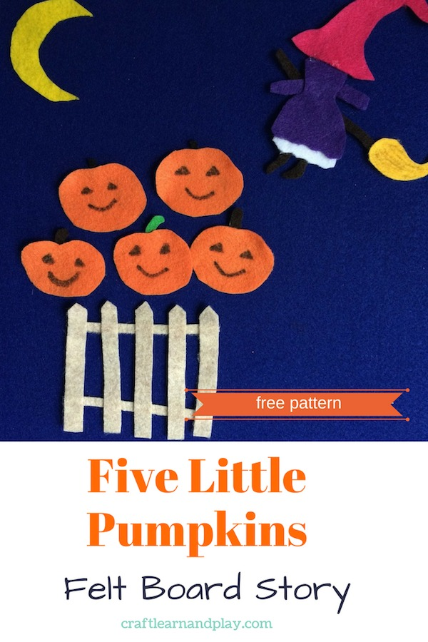 Make Halloween felt board story with this free pattern. Fun story for kids accompanied with interesting book. Have a great Halloween story time for kids. Click for free printable #Halloween #kids #feltboard #storytime #pumpkins