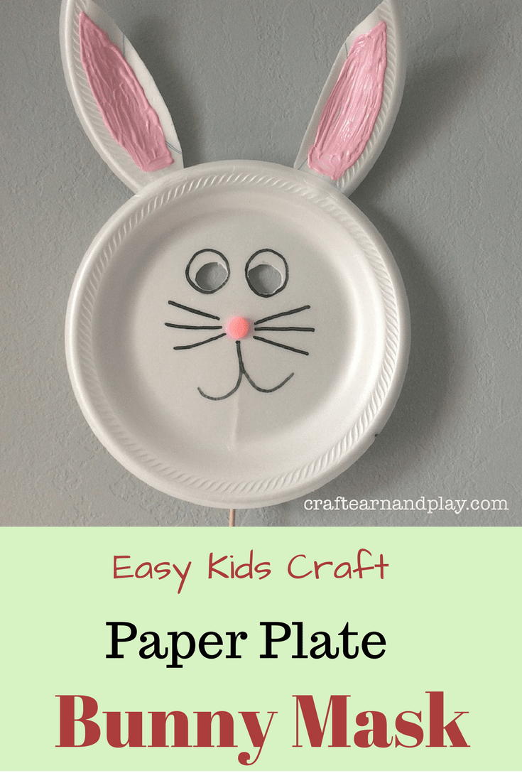 Paper Plate Bunny Mask for kids - Kids crafts Bunny Mask - Paper Plate crafts -  sc 1 st  Craft Learn and Play : rabbit paper plates - pezcame.com