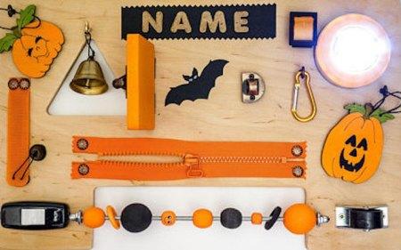 busy board halloween, sensory board toy