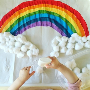 cotton balls craft - rainbow easy crafts for toddlers