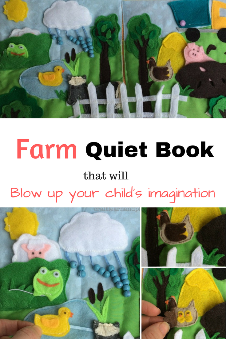 Handcrafted farm quiet book that would make perfect gift for children. Details and activity pages will easily blow up your child's imagination. Click to peek into pages. Get inspired
