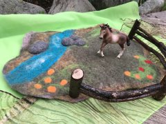 Wet Felted Horse in a Meadow Play Mat