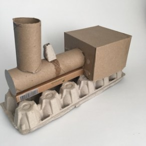 making upcyced train toy DIY kids