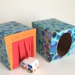 tissue box crafts - car wash