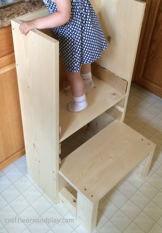 toddler kitchen tower DIY in process