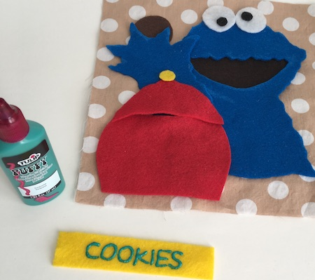 I use puff fabric paint for making cookie monster's cookie jar. Click for full list of quiet book materials.