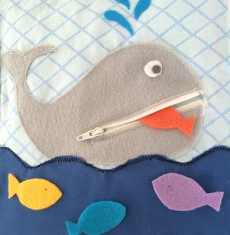 zipper whale simple quiet book page pdf sewing pattern and tutorial