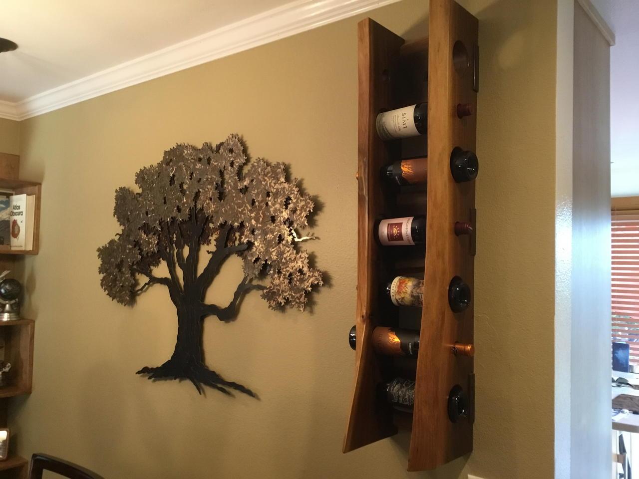 live edge black walnut wine rack