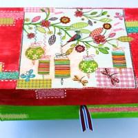 Κουτι για κορδελες με decoupage, από κουτι για παπουτσια