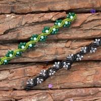 Μακραμε βραχιολι ζικ ζακ λουλουδακι με χαντρες- Level 1