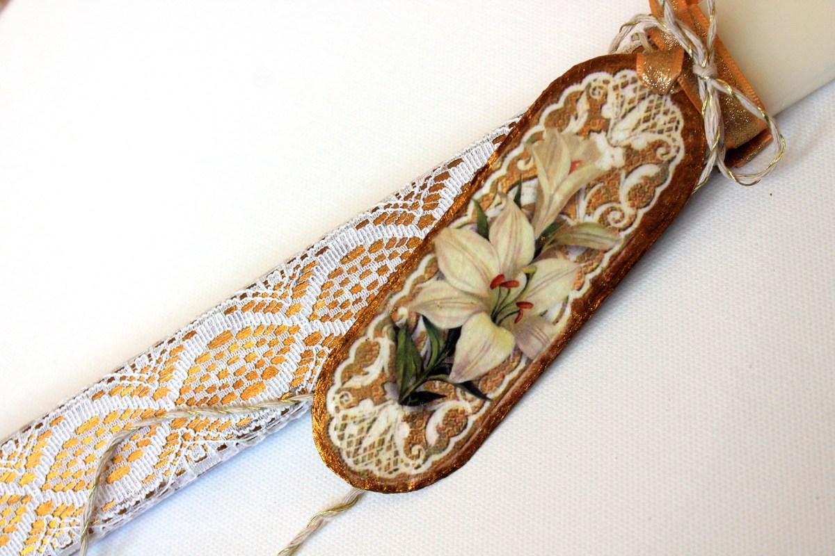 Πασχαλινη λαμπαδα με δαντελα και σελιδοδεικτη