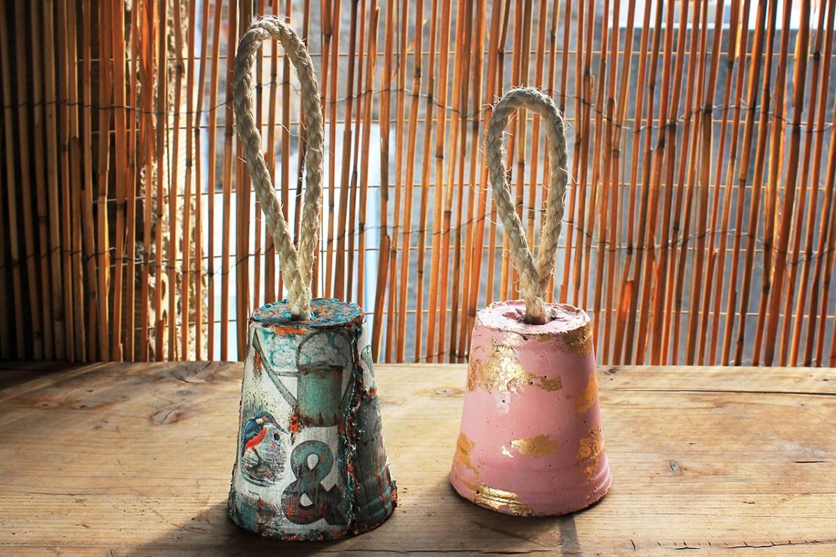 Στοπ πορτας απο τσιμεντο με decoupage και με φυλλα χρυσου, δευτερο δωρεαν σεμιναριο Praktiker