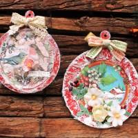 Χριτουγεννιατικες ξυλινες μπαλες με χαρτια scrapbooking