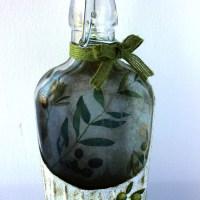 Γυαλινο μπουκαλι για λαδι με decoupage