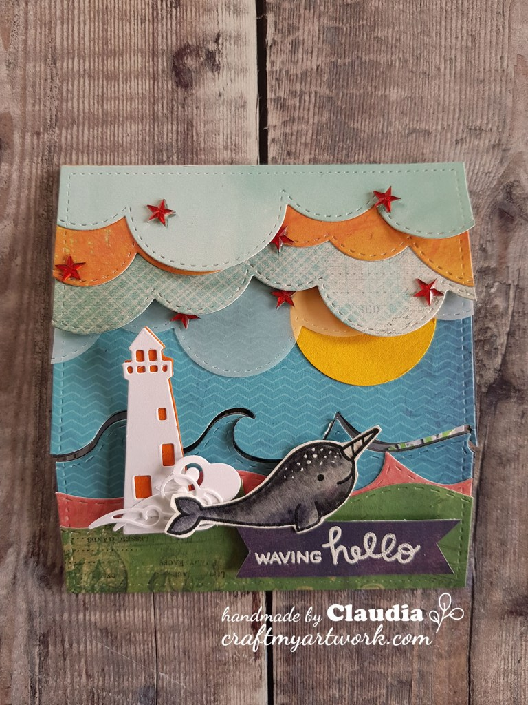 front view for mermay card, trifold card, whale, waves and clouds, and lighthouse