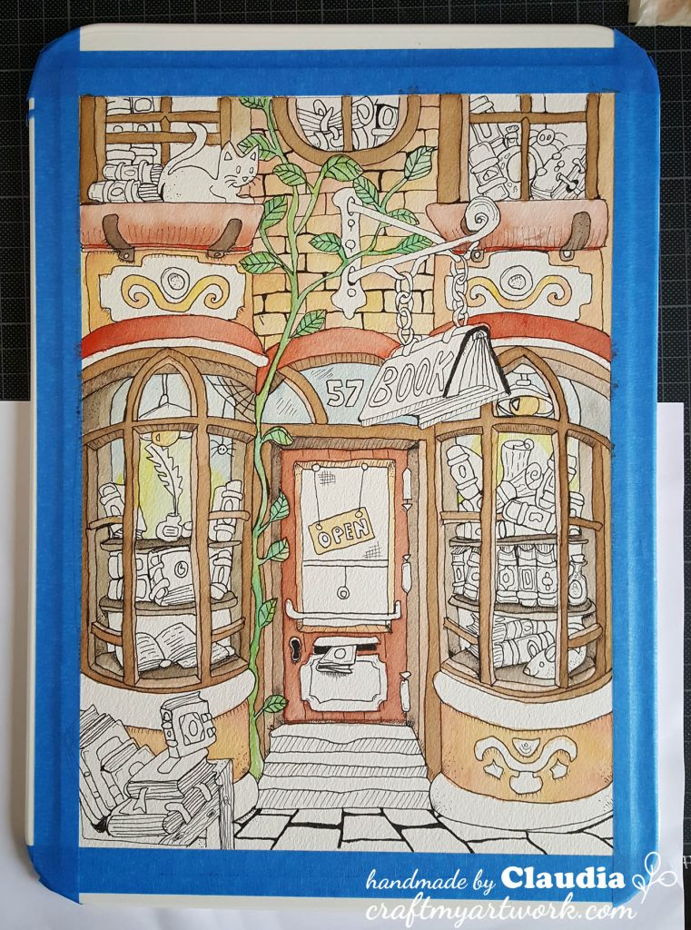 bookstore watercolor illustration before adding the ZIG markers - intermediary