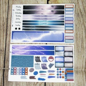 Thunder & Lightning Monthly Sticker Set- Customizable, B6