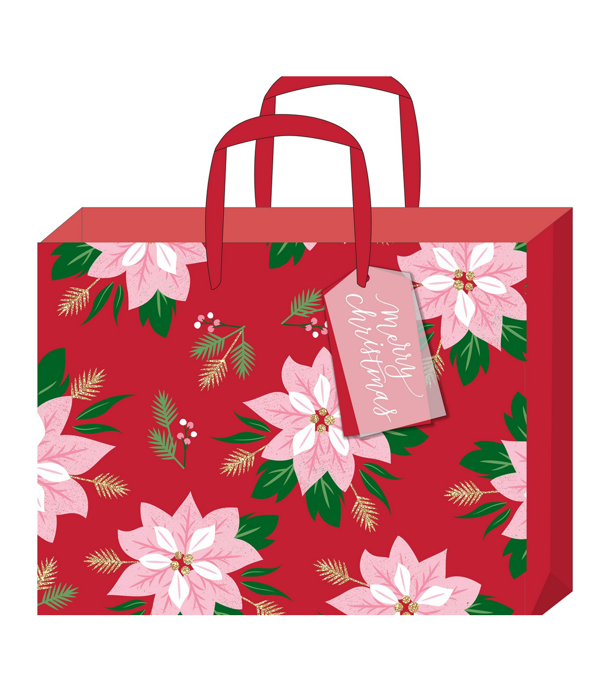 3 Designs of Cute Crafts Using Paper Bags American Crafts Large Gift Bag With Tag Poinsettia Gold Glitter