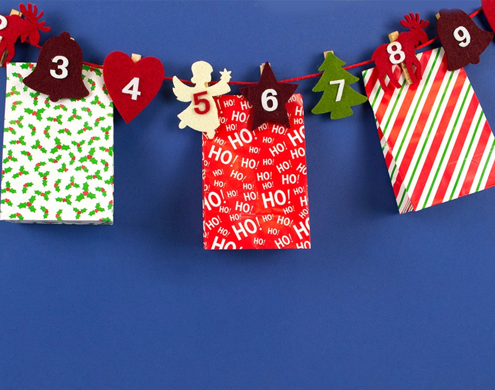 3 Designs of Cute Crafts Using Paper Bags Christmas Advent Calendar Felt Peg Garland With Paper Bags Sale