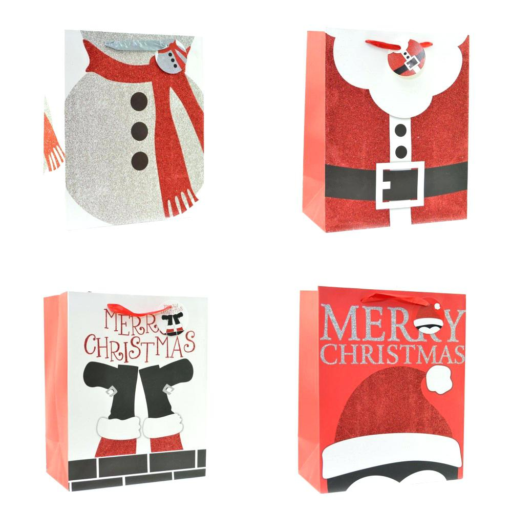 3 Designs of Cute Crafts Using Paper Bags Christmas Paper Bags Small Festive Gift Bags Christmas Crafts With