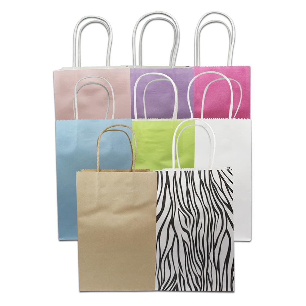 3 Designs of Cute Crafts Using Paper Bags Colorful Kraft Paper Gifts Packaging Bag With Handle Boutiques