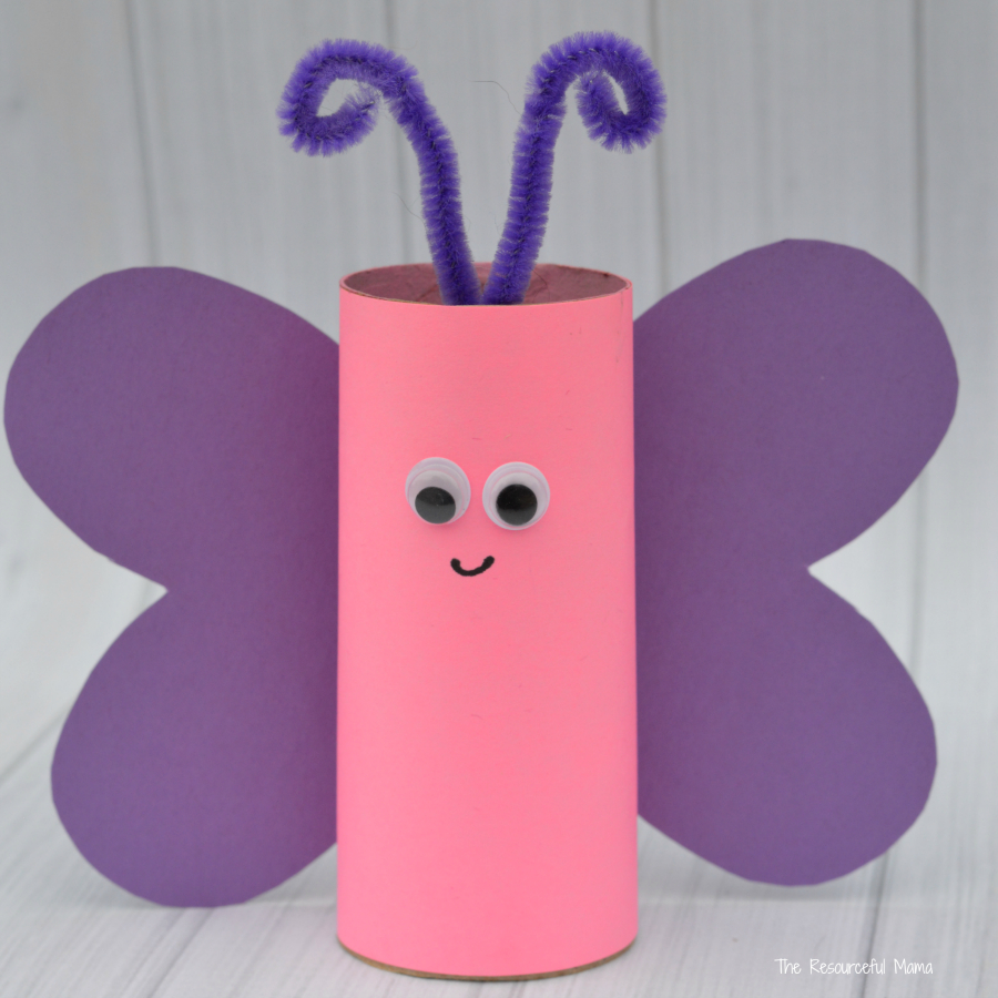 3 Easy Designs of Crafts Out Otissue Paper Toilet Paper Roll Butterfly Craft The Resourceful Mama
