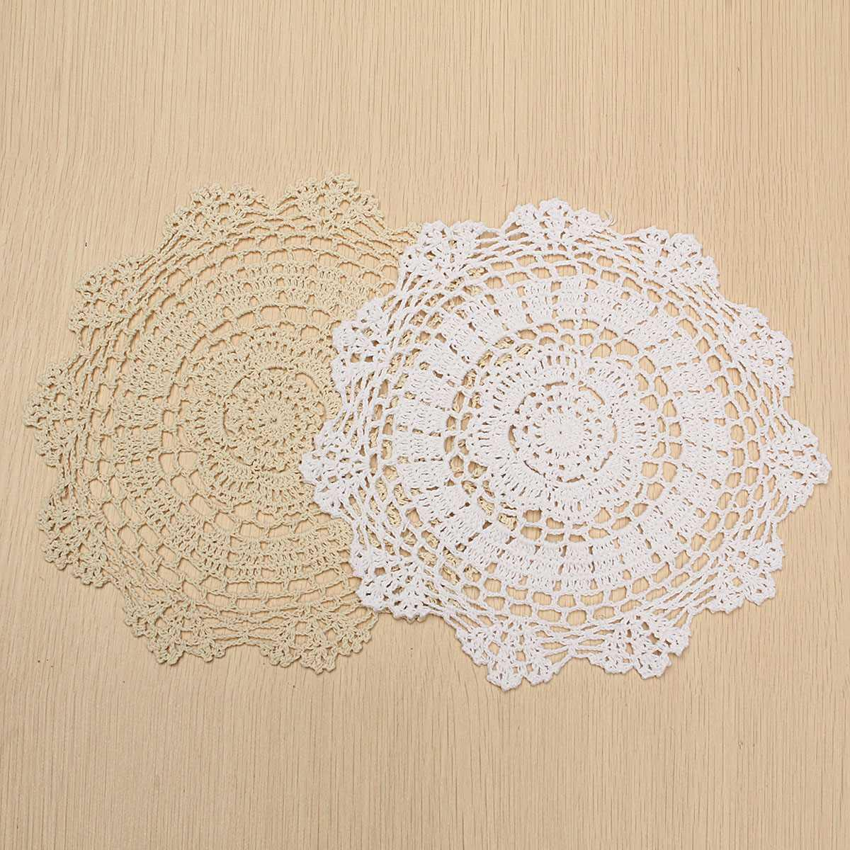 3 Pretty Designs of Craft Paper Doilies 2019 Wholesale Round Retro Crochet Lace Doilies Floral Placemat