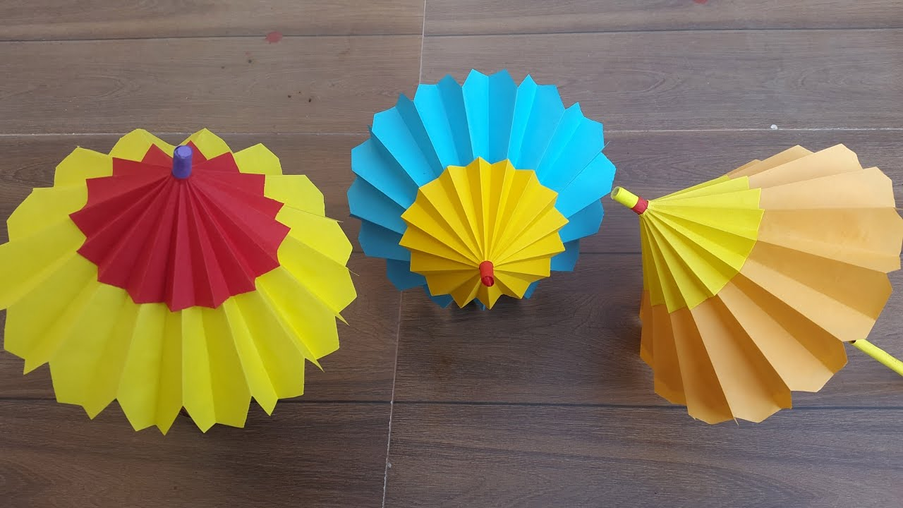 Create paper umbrella craft for party glass decor How To Make A Paper Umbrella That Open And Closes Step Step