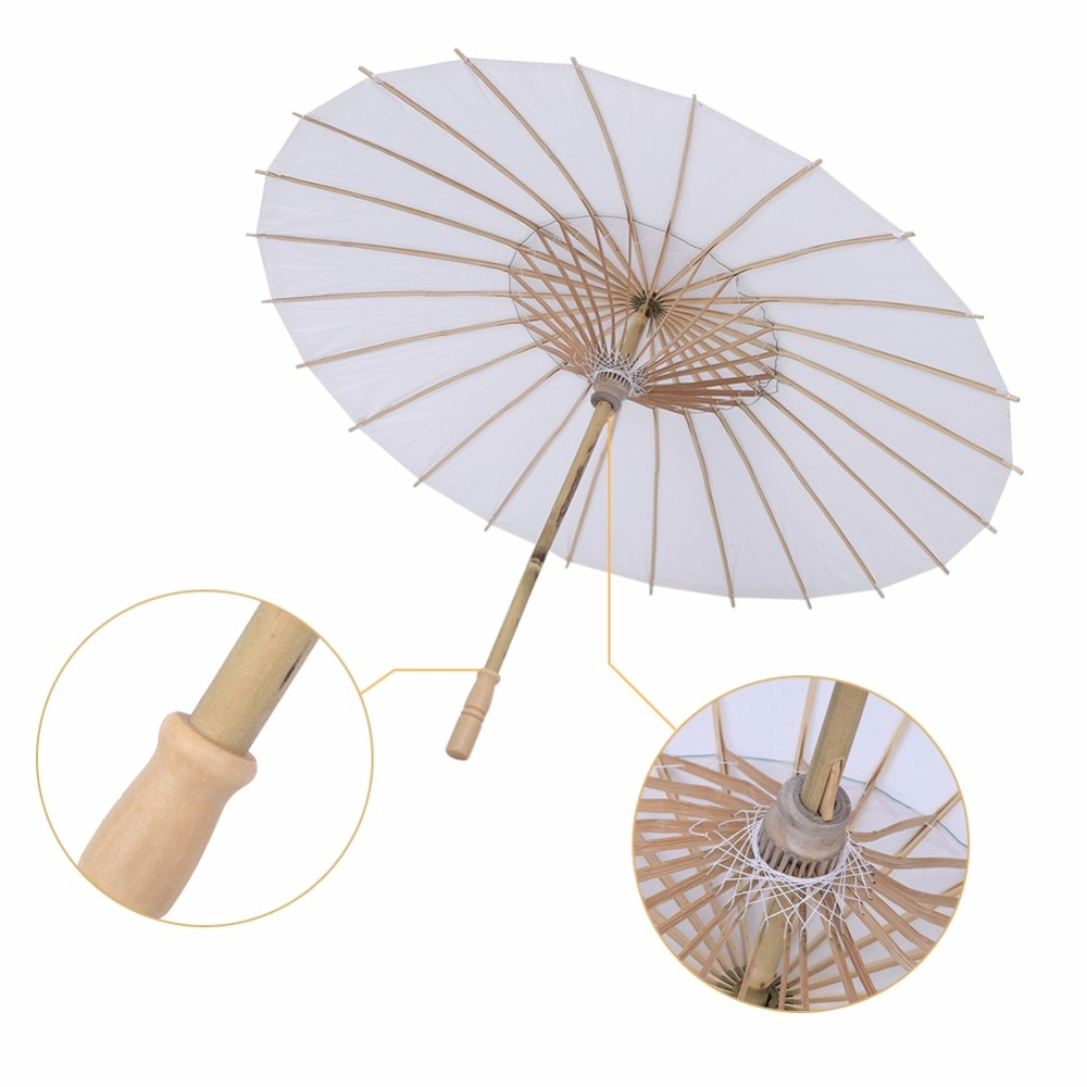 Create paper umbrella craft for party glass decor New Style Bamboo White Paper Umbrella Tissue Paper Paraso Chinese