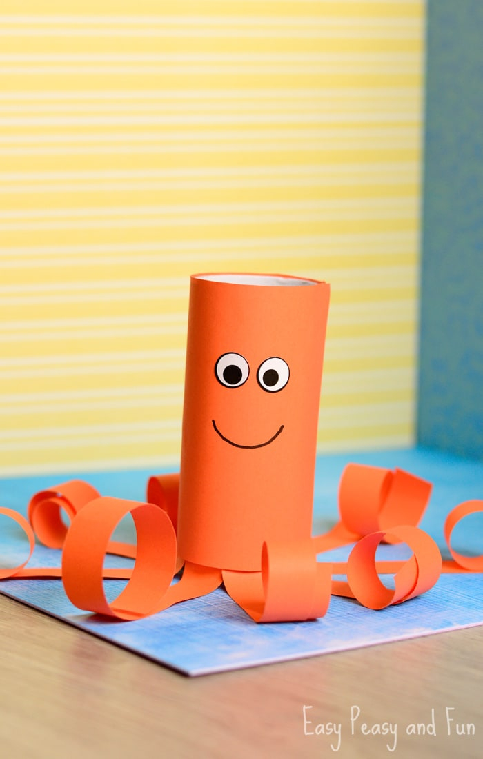 Creative crafts with toilet paper roll Toilet Paper Roll Octopus Craft Easy Peasy And Fun