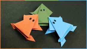 Fun Crafts With Construction Paper Origami Frog That Jumps Easy Fun Paper Craft For Kids Youtube