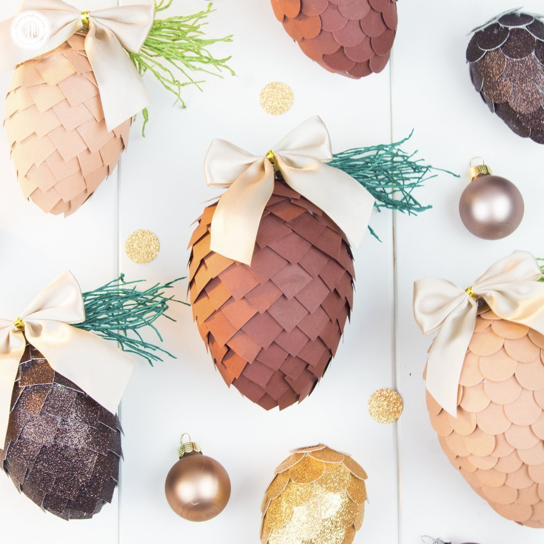 Handmade Paper Craft Gifts You can Make Right Now Paper Pinecone Ornaments Christmas Paper Craft