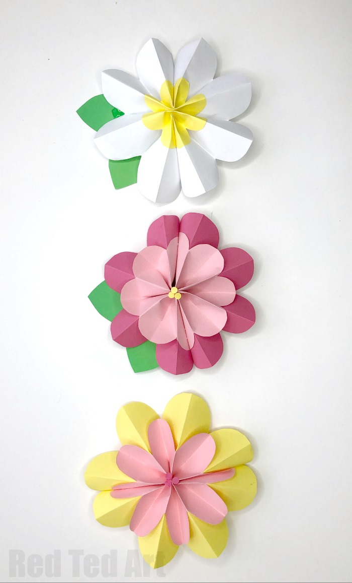 Home crafts you can make with paper Easy 3d Paper Flowers For Spring Red Ted Art