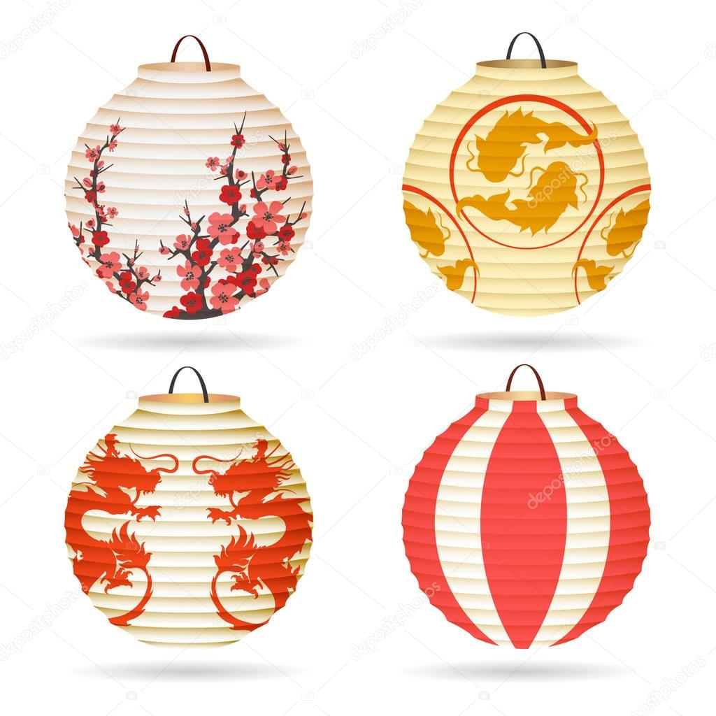 How to Make Japanese Paper Lanterns Craft for Kids Japanese Paper Lantern Set Stock Vector Vectortatu 159733814