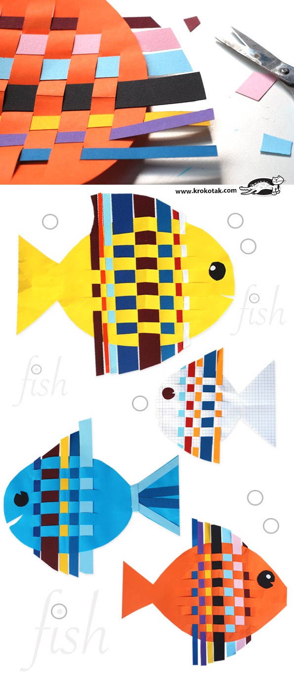 How to Make Paper Craft Fish for Kids Krokotak Fish From Interwoven Colored Paper Strips
