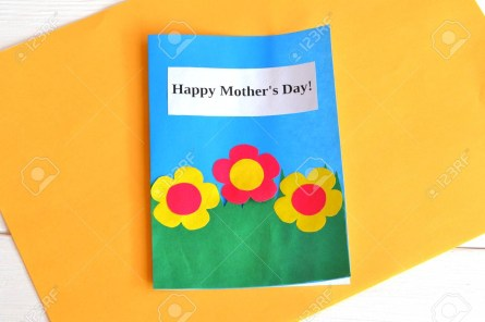 Kids Paper Crafts Card With Flowers And Words Happy Mothers Day Kids Paper Crafts
