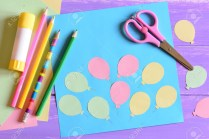 Kindergarten Paper Crafts Card With Paper Balloons Scissors Glue Stick Colored Paper