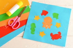 Kindergarten Paper Crafts Paper Applique With Sea Animals And Fishes Art Lesson In