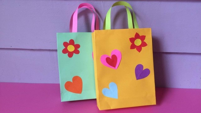 Paper Bag Craft Ideas How To Make Bag With Color Paper Diy Paper Bags Making Youtube