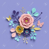 Paper Craft Flowers Bouquet 3d Rendering Abstract Floral Background Paper Flowers Botanical