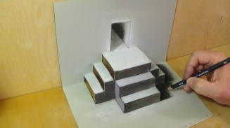 Paper Craft For Adults Mixed Reality Illusion Pop Up Papercraft Drawing Stairs Trick