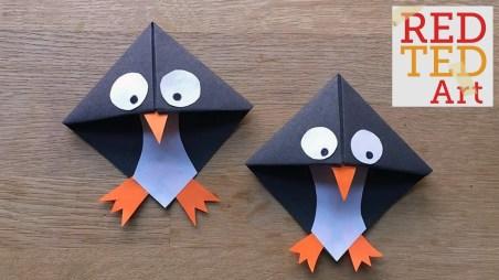 Penguin Paper Craft Easy Paper Penguin Corner Bookmark Crafts Youtube