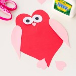 Simple And Cute Construction Paper Crafts For Kids Owl Heart Shape Paper Craft Diy Valentines Day Cards