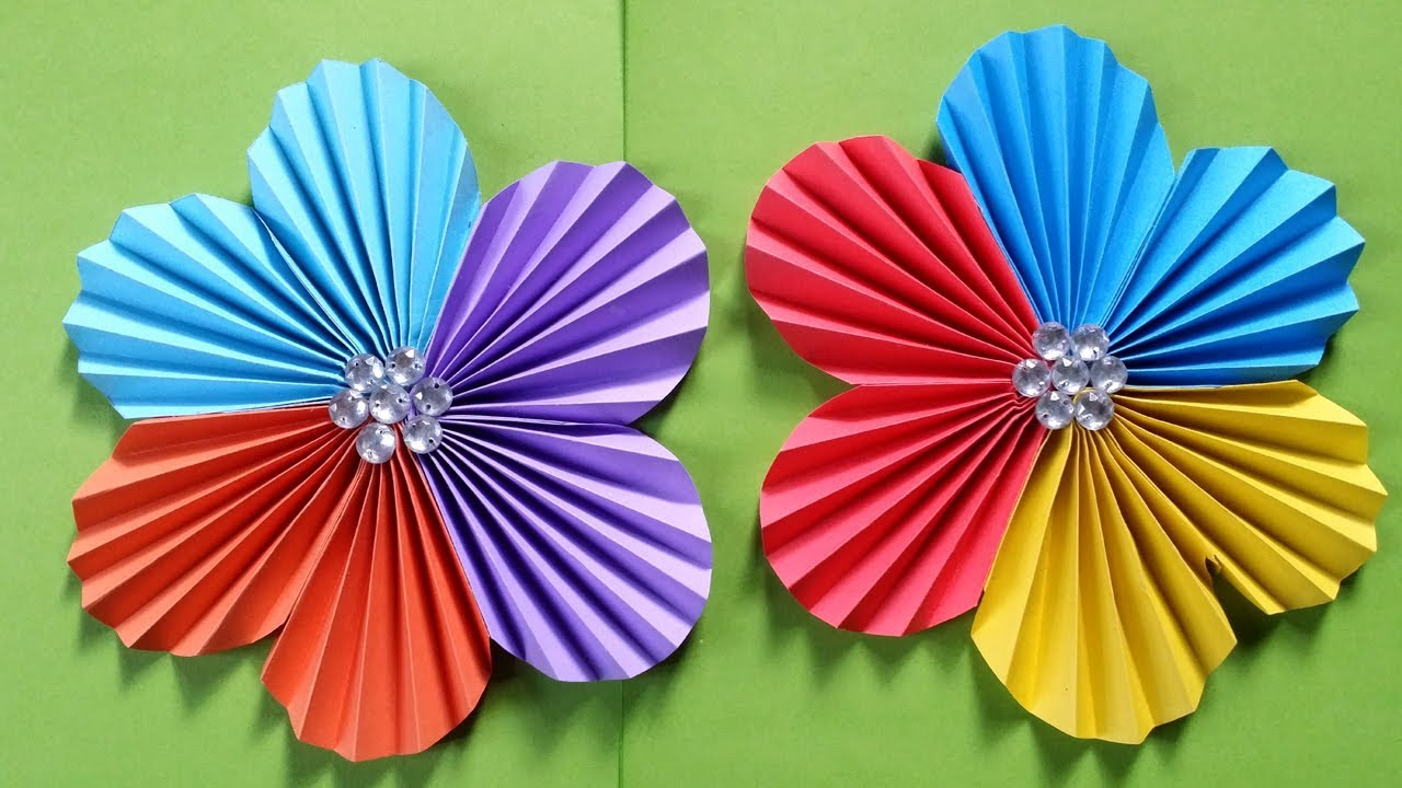 Simple Crafts Using Paper to Add New Accessory at Home How To Make A Flower With Colour Paper Easy Simple Easy Paper