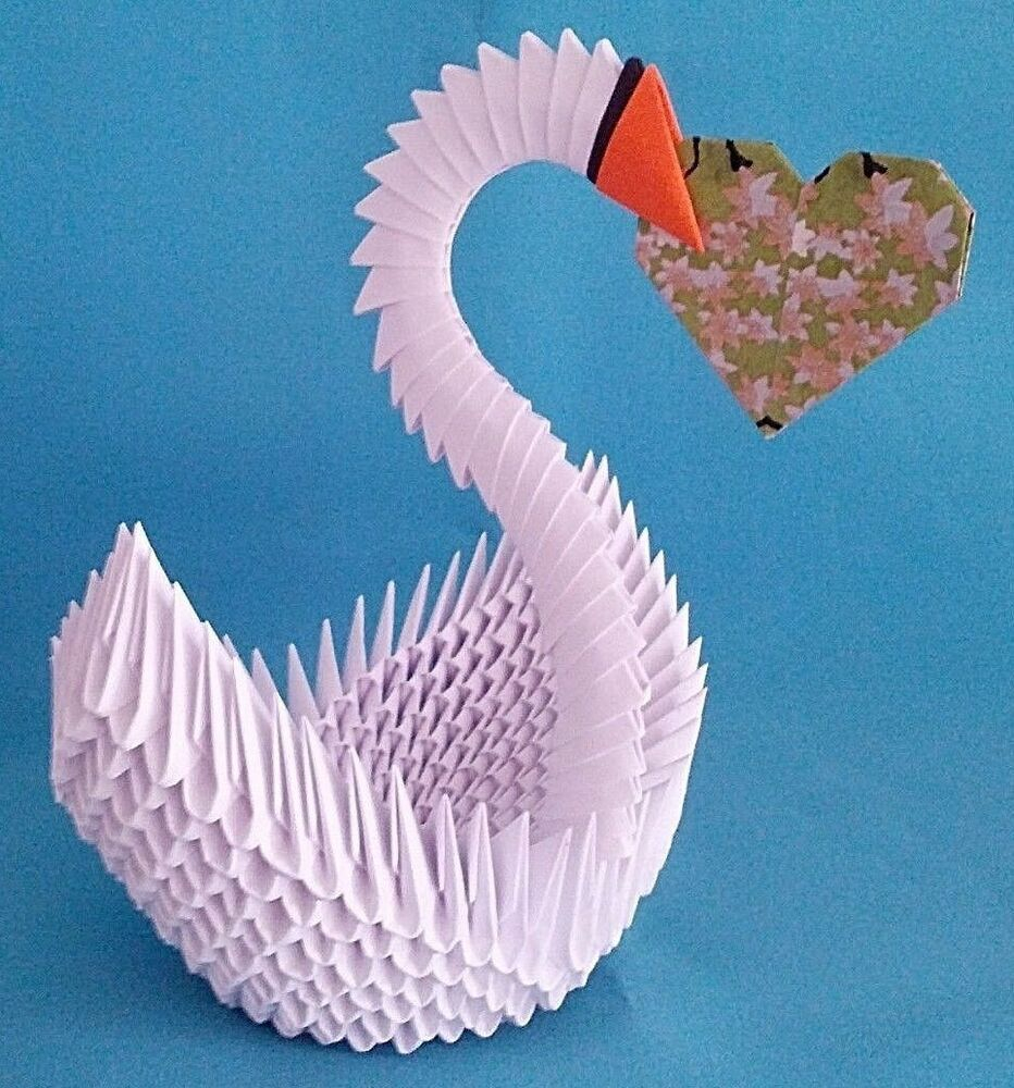The big 3d origami heart swan | 3d origami heart, Origami patterns ... | 1000x932