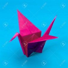 Swan Paper Craft Pink Origami Paper Swan On Blue Background Stock Photo Picture And