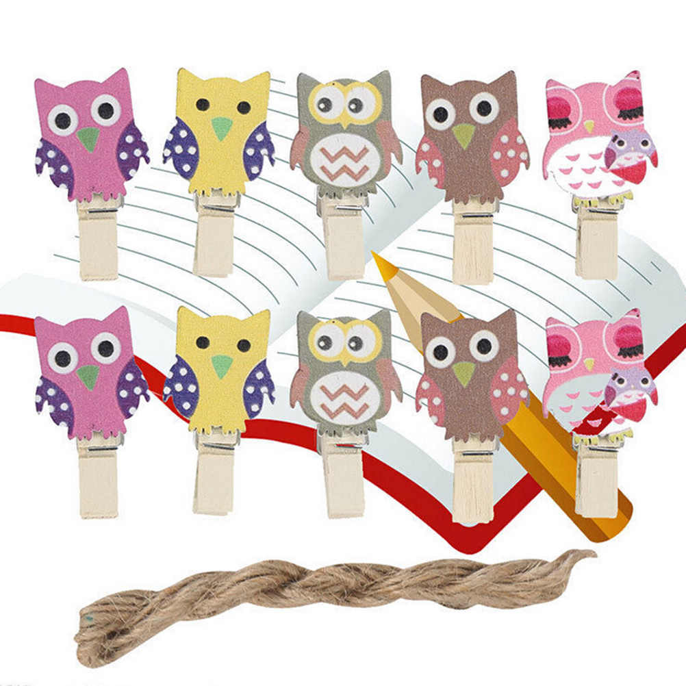 The simple paper owls crafts idea 10pcsbag Mini Owl Wooden Photo Paper Peg Pin Decorative Clothespins With Rope Home Organization Crafts Wooden Postcard Pegs