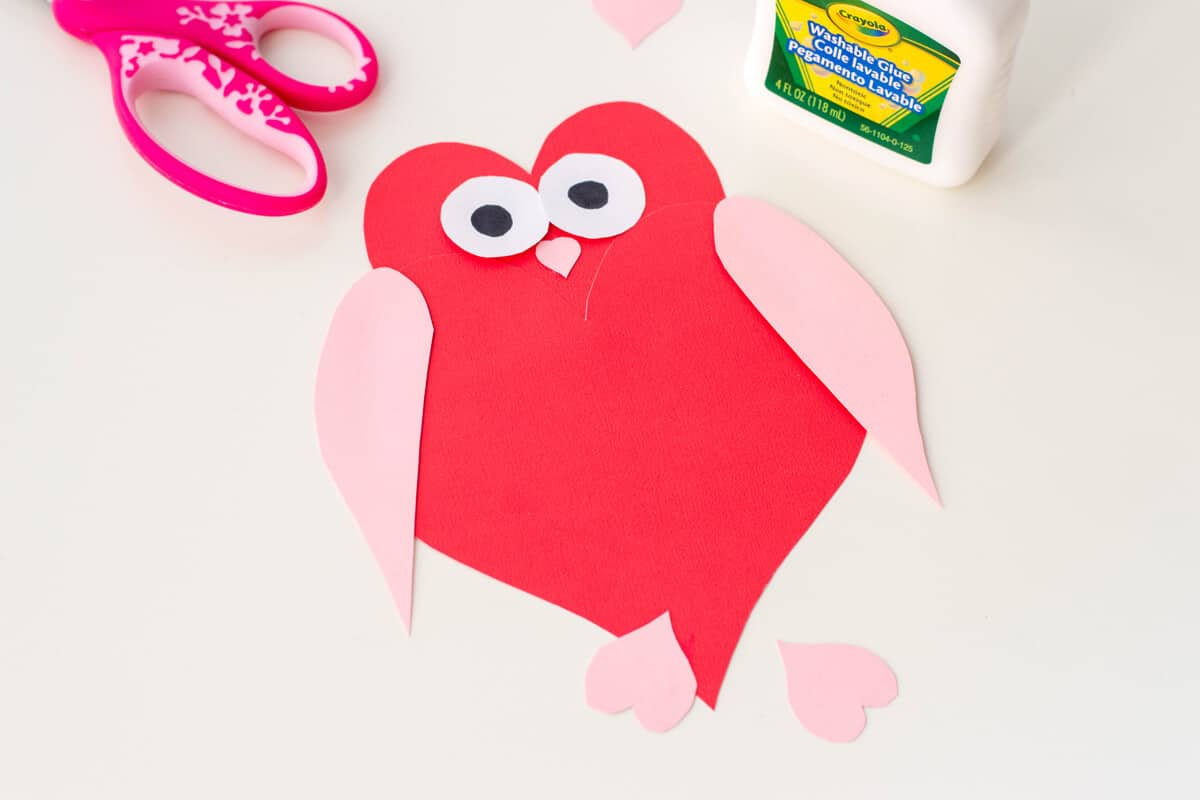 The simple paper owls crafts idea Owl Heart Shape Paper Craft Diy Valentines Day Cards